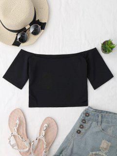 Cropped Cotton Off Shoulder Top - Black
