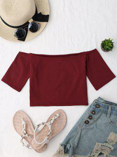Cropped Cotton Off Shoulder Top - Wine Red
