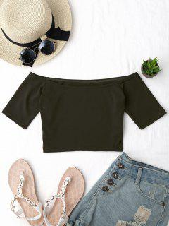 Cropped Cotton Off Shoulder Top - Army Green
