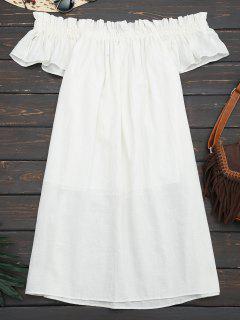 Mini Casual Rüschen Aus Schulter Kleid - Weiß S