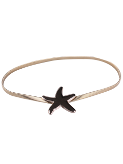 Plated Metal Starfish Buckle Coat Belt - Golden