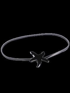 Plated Metal Starfish Buckle Coat Belt - Full Black