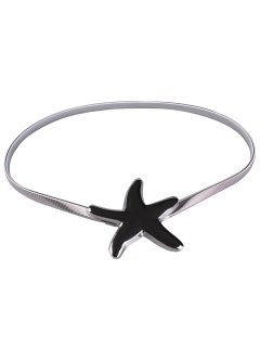Plated Metal Starfish Buckle Coat Belt - Silver