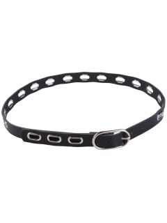 Hollow Out Metal Oval Hole Waist Belt - Black