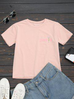 Cotton Letter Rose Embroidered T-Shirt - Pink S