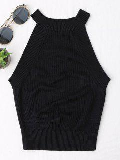Knitting High Neck Tank Top - Black S