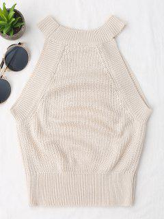 Knitting High Neck Tank Top - Off-white S