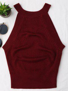 Knitting High Neck Tank Top - Wine Red S