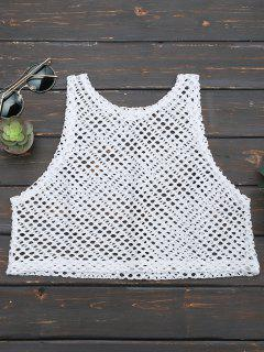 Cropped Fishnet Cut Out Tank Top - White
