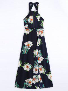 Robe Longue Imprimée Florale à Fente élevée à Dos Nu - Bleu Violet Xl