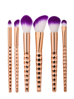Ensemble De Brosses à Maquillage En Forme De Nid D'abeille 6pcs - Or Rose