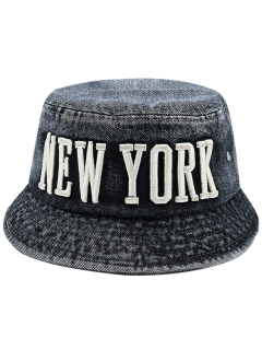 Denim Letters Embroidery Flat Top Bucket Hat - Black