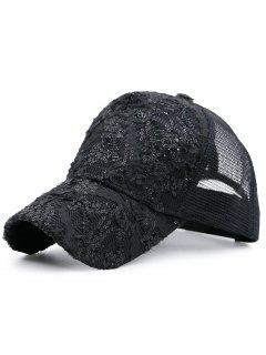 Mesh Spliced Sequin Lace Baseball Hat - Black