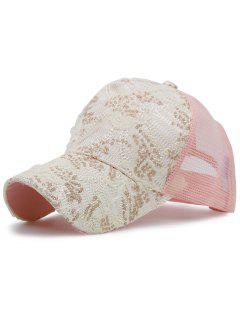 Mesh Spliced Sequin Lace Baseball Hat - Pink