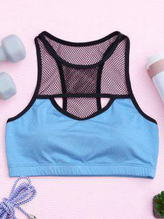 Cut Out Racerback Fishnet Sporty Bra - Blue S