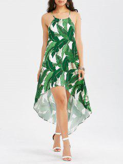 High Low Dress With Palm Leaf Print - Green 2xl