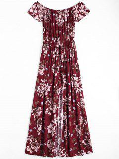 Floral Print Off The Shoulder Asymmetric Dress - Wine Red L