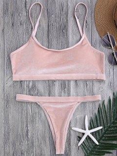 V String Thong Bralette Bikini Set - Pink S