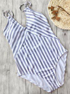 Adelgazamiento Rayas Strappy Traje De Baño De Una Pieza - Blanco + Violeta S