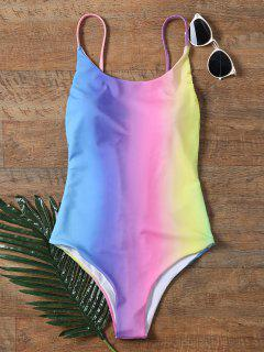 Colorful Backless One Piece Ombre Swimwear - M