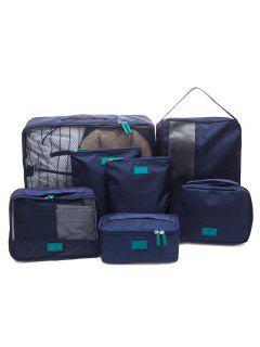 Waterproof Travel Storage 7 Piece Luggage Organizer Bags - Cadetblue