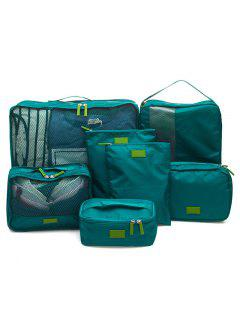 Waterproof Travel Storage 7 Piece Luggage Organizer Bags - Blackish Green