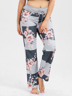 Pantalon Rayé Imprimé Floral à Cordon De Serrage - Gris Foncé S