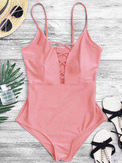 Gestaltung Kreuzgurte Tiefer Ausschnitt Einteiler Badeanzug - Pink L