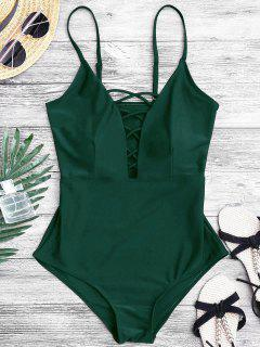 Shaping Crisscross Plunge One Piece Swimsuit - Green L