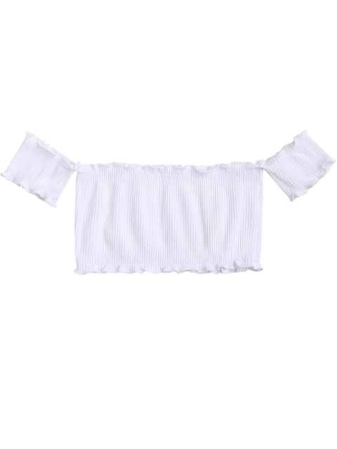 trendy Off Shoulder Rib Textured Ruffled Crop Top - WHITE ONE SIZE Mobile