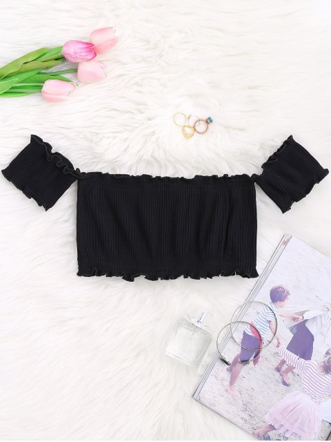 fashion Off Shoulder Rib Textured Ruffled Crop Top - BLACK ONE SIZE Mobile
