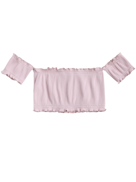 fancy Off Shoulder Rib Textured Ruffled Crop Top - PALE PINKISH GREY ONE SIZE Mobile