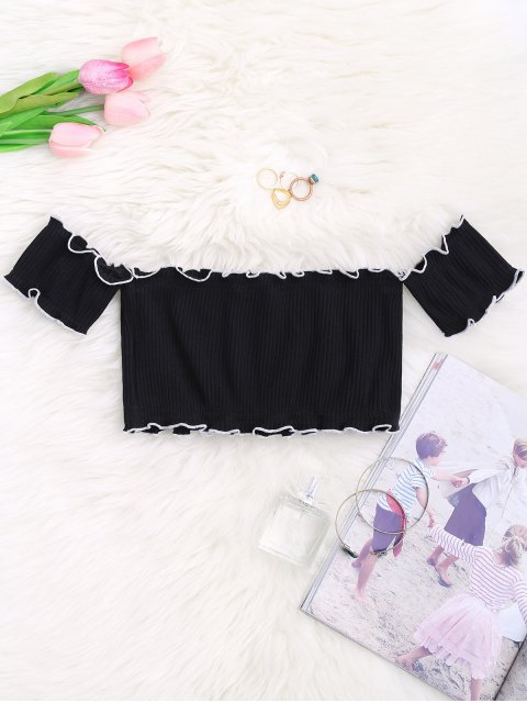 sale Off Shoulder Ribbed Piping Ruffled Crop Top - BLACK ONE SIZE Mobile