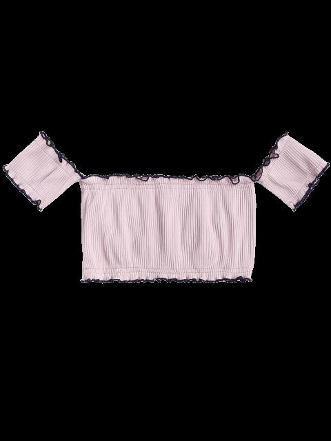 Crop Top Des Épaules Dénudées Côtelé à Volants - Pale Rose Gris TAILLE MOYENNE Mobile