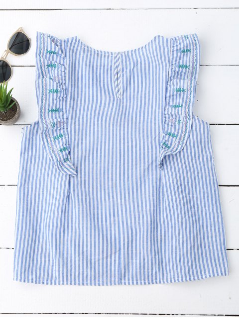 women's Stripes Embroidered Ruffles Tank Top - STRIPE L Mobile