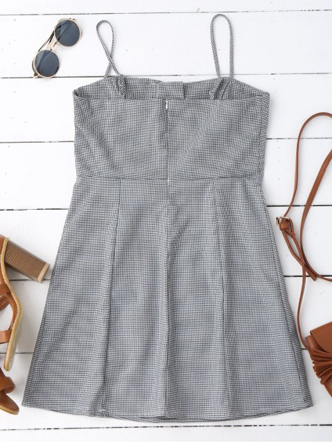 online Houndstooth Lace Up Slip Mini Dress - CHECKED S Mobile