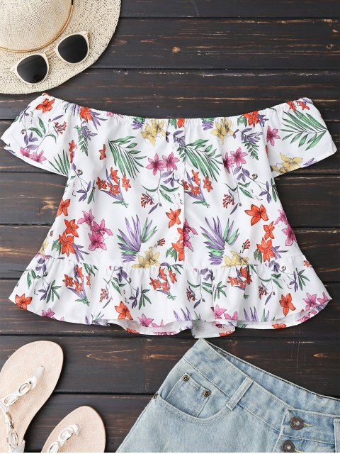 sale Floral Button Up Off Shoulder Top - WHITE L Mobile
