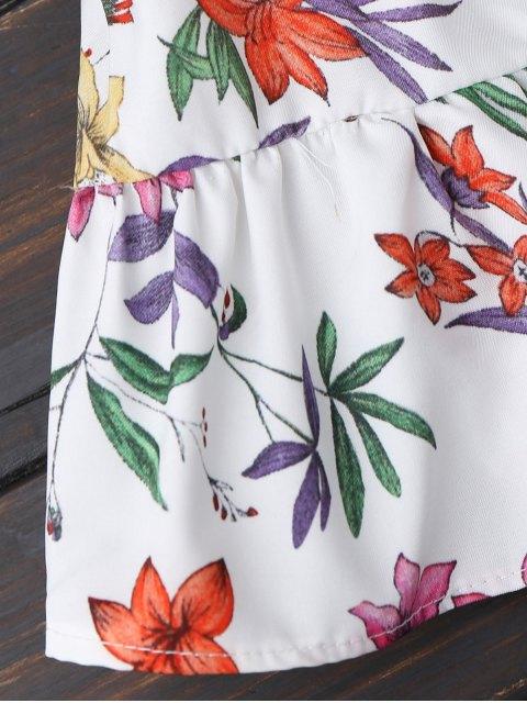 sale Floral Button Up Off Shoulder Top - WHITE L Mobile