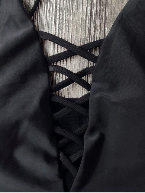 Maillots de bain une-pièce à bretelle lacé haut - Noir L Mobile
