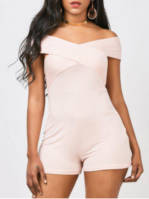chic Cross Front Off The Shoulder Romper - PINK 2XL Mobile