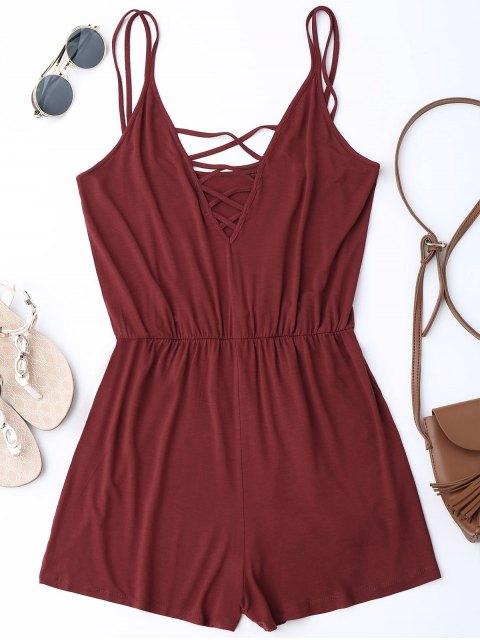buy Strappy Criss Cross Cotton Romper - WINE RED L Mobile