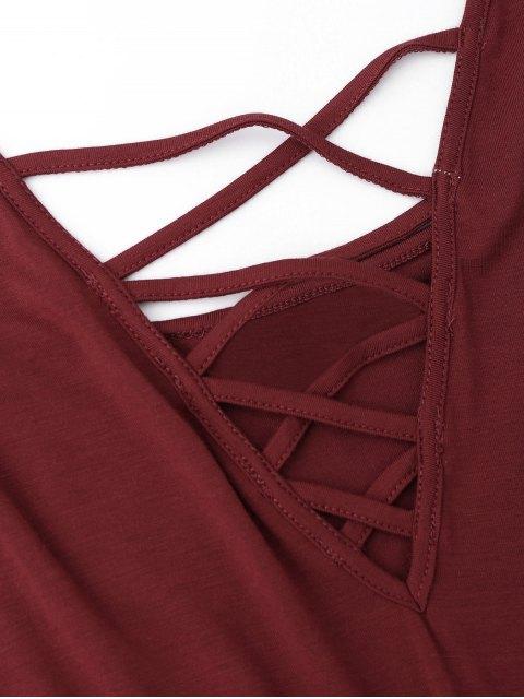 Combishorts en coton à bretelles croisées - Rouge vineux  M Mobile