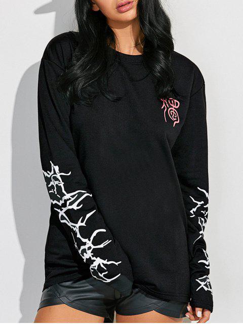ladies Crew Neck Graphic Sleeve Sweatshirt - BLACK L Mobile