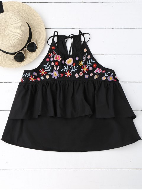 women's Loose Sleeveless Layered Embroidered Top - BLACK L Mobile