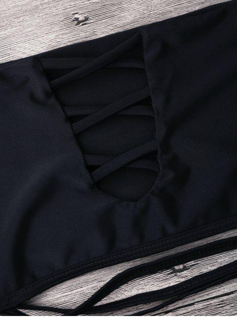 buy Pineapple Off Shoulder Strappy Banded Bikini - BLACK M Mobile