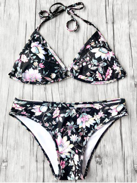 women Halter Plunge Floral Bikini Top and Bottoms - BLACK L Mobile