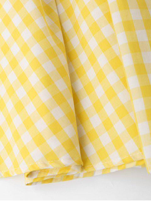 online Ruffles Smocked Tube Top and Checked A-Line Maxi Skirt - YELLOW M Mobile
