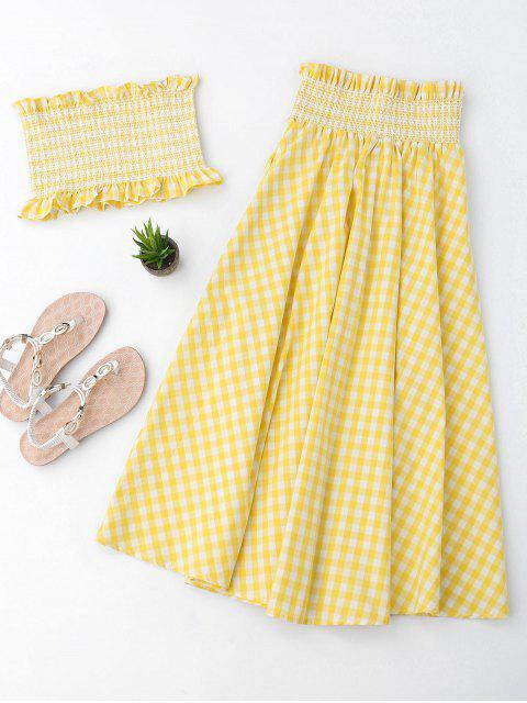 Ruffles Smocked Tube Top y Checked A-Line Falda Maxi - Amarillo M Mobile
