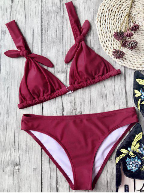 hot Padded Knotted Bikini Top and Bottoms - BURGUNDY L Mobile
