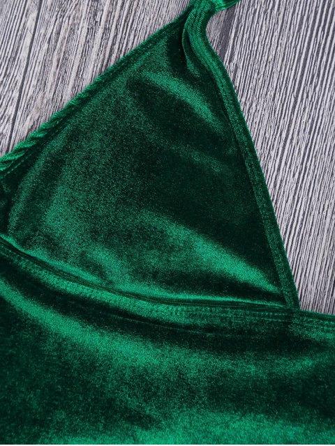 fancy Longline Bikini Top and High Leg Bottoms - GREEN S Mobile